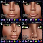 P Gem Piercings ~Colors & Bling on-off~ Silver & Black
